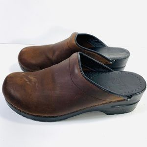 Dansko Leather Open-Back Women's Brown Clogs